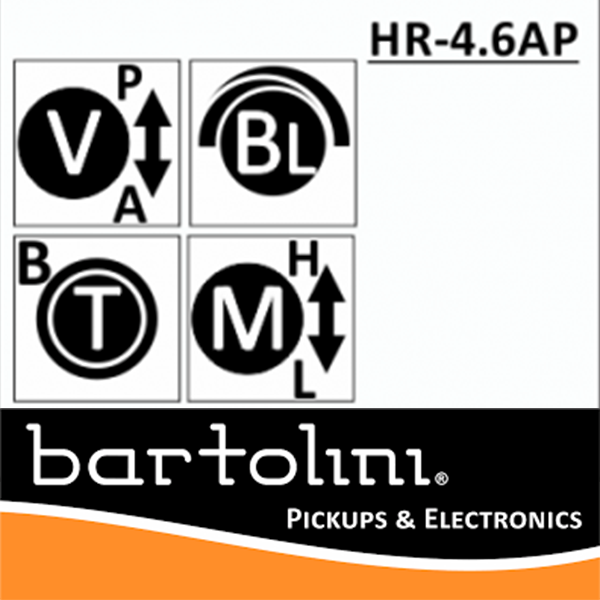Bartolini  NTMB+F HR-4.6J APJ/918 3 Band EQ, 4 Pots Jazz Layout
