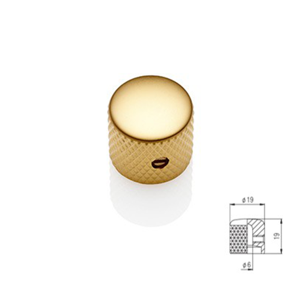Flat Dome Knob - Gold Satin